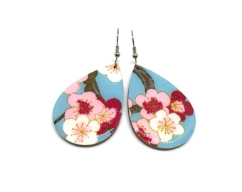 Turquoise and Red Tear Drop Earrings, Cherry Blossoms, Japanese Paper, Chiyogami, Wood, Lightweight, Laser cut, Resin coated, Pattern varies