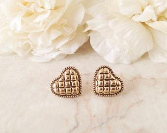 Gold Quilted Heart Earrings, Vintage Earrings, Button Earrings, Geometric Heart Earring Studs, gift for her under 20, Gold Earrings, Wedding
