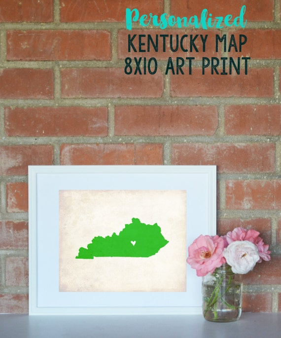 Kentucky Rustic State Map. Personalized Kentucky Map. Kentucky Wedding Map. Wedding Gift. Housewarming Gift. Home Map Art. Art Print 8x10.