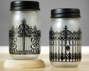 Wrought Iron Gates of Charleston SC, Hand Painted on Frosted Glass Mason Jars, Kitchen Storage or Candle Holder