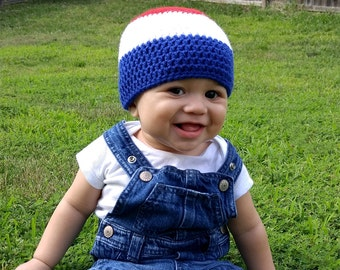 Red White Blue Baby Hat - Patriotic Baby - Crochet Baby Beanie - Gift for Baby - Newborn Hat - Baby Photo Prop - American Baby