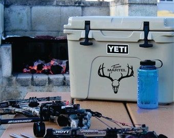 Personalized Deer Skull Decal, Truck Decal, Cooler Decal Hunting, Cooler Decal Christmas, Custom Cooler Decal, Cooler Decal
