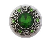 S-383 Exquisite Green Rose Snap 20mm for Ginger Snap Jewelry-Noosa-Chunk