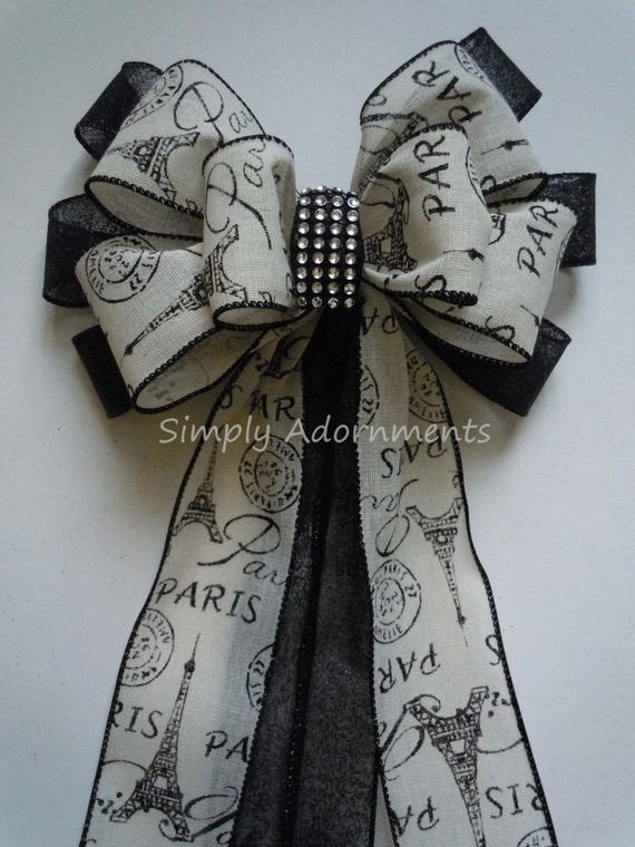 Paris Wedding Aisle Decoration Bows Paris Eiffel Tower Party Decor Black Ivory Paris Birthday Party Decor Paris Gifts Bows