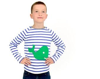 long-sleeved shirt, toddler boy shirt, blue white striped shirt, whale appliqué, organic cotton shirt, striped long sleeve toddler boy