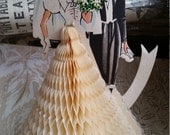 Darling Vintage 1960's Bride and Groom Honeycomb Table Decoration