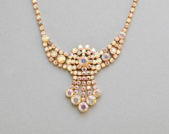 Vintage iridescent necklace, rhinestone statement collar, costume jewelry women 60s