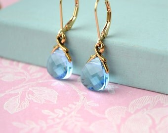 Blue Crystal Earrings, Gold Filled Earrings Swarovski Crystal Jewelry, Dangle Blue Bridal Earrings, Swarovski Earrings Blue & Gold Earrings