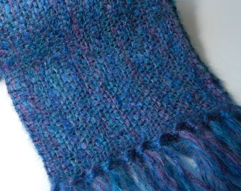 Handwoven  alpaca brushed wool scarf cobalt turquoise purple