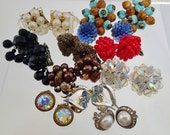 FREE Shipping Vintage Clip On Earrings Lot of 11 pairs Bead Cluster Beaded Western Germany Japan 50s L