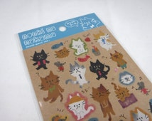 Japanese Sticker Sheet Assort: Mind Wave - Kraft - NONKI CAT - White Brown Stylish Relax Too Cute Necktie Hats Fish Activities Mouse Friends