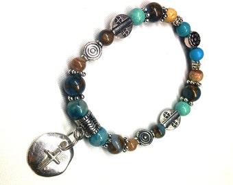 Beaded Stretch Bracelet, Southwestern Style, Faith Inspired, Silver Dangle Cross, Blues Browns Greens, Multi-Gemstones, Christmas Gift