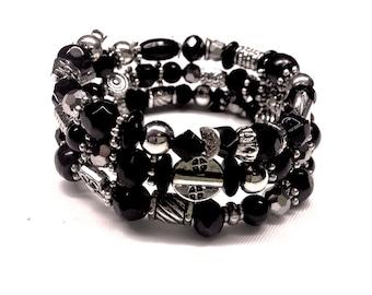 Black & Silver Beaded Memory Wire Wrap Around Cuff Bracelet,Boho,Hippie Chic,Classic Style,Gift For Her,Onyx,Obsidian,Swarovski Crystals
