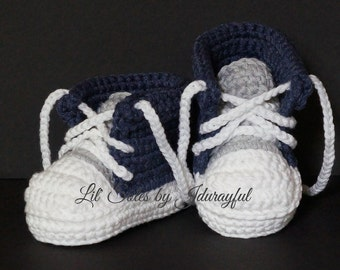 Crochet Baby Shoes, Baby Sneakers, Baby Chuck Taylors, Blue Baby Shoes, Baby Boy Shoes, Baby Converse, Baby Tennis Shoes, Gray