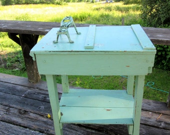 Rustic Wood Table - Cast Iron Shoe Shine Foot Rest - Painted - Green - Mint Green - Primitive Side Table - Patina