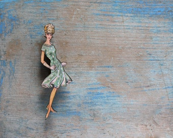 Fabulous Fashion Brooch, Twist Dancing Dress with Spots, Mint, Vintage Frock Brooch, Made in Australia