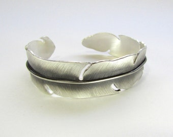 Silver Feather Cuff Bracelet - Feather Bracelet - Silver Cuff Bracelet - Feather Cuff - Feather Jewelry