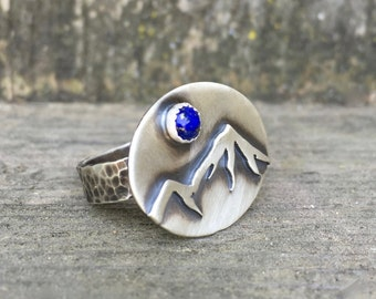 Mountain Ring Sterling Silver with Lapis Gemstone - Mountain Jewelry - Lapis Jewelry