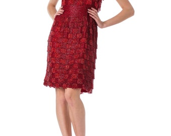 1950s Fully Beaded Red Dress with Fringe SIZE: XS, 2
