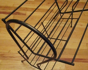 Mid Century Black Wire Bookshelf - 2 Tier
