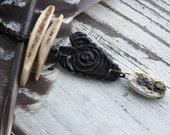 Dark Fae- artisan ceramic beads. charcoal neutral. zen long jewelry. feng shui earthy. long Indie boho goth bone necklace. Jettabugjewelry
