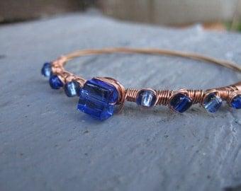 Copper Guitar String Bracelet with Dark Blue Beads