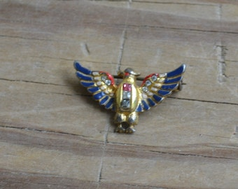 Rare antique vintage sterling silver gold art deco WW2 sweetheart eagle brooch with red and blue enamel and rhinestones by Coro / TTRDTO