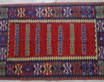 3 by 4 rug / Vintage Oushak Rug / Vintage Kilim / Turkish Kilim Rug / Small Kilim Rug / Oushak Rug / Kilim Pillow / Kitchen Rug / Kilim Rug