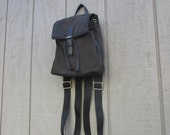 Coach Mini Backpack / Twill / Black Leather Trim / Adjustable Straps / Toggle Closure / Zippered Compartments