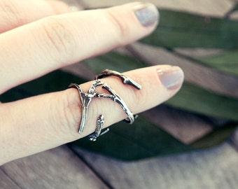 Twig ring, elf ring, elvish ring, open ring, branch ring, silver twig ring, tree branch ring, twig band, game of thrones, bague elfique