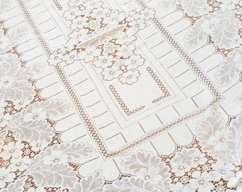 Vintage Romantic Home Heirloom White Floral Lace Table Linen, Olives and Doves