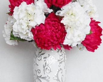 Artificial Flower Arrangement, Fuchsia Football Mums, White Hydrangea, White Vase with Silver, Silk Flower Arrangement, Silk Floral Decor,