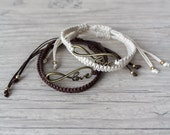 Couples bracelet Brown and ivory friendship bracelet set Infinity love macrame bracelet Gift for couple His and her bracelets - set of 4