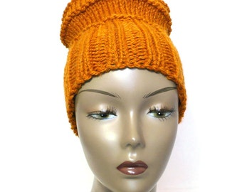 Hand Knit Hat - Woman's Knit Hat, Golden Amber Hat, Chunky Knits, Slouchy Watchcap, Convertible Design