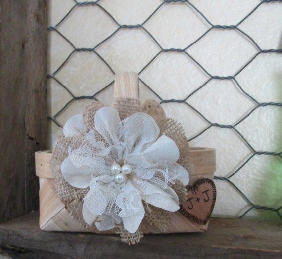 Flower Girl Baskets Small : Small personalized rustic flower girl basket wedding