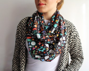 Chemistry Infinty Scarf Women Science Chemistry Gift for Her March for Science Lab Biology E=mc2 Nerd Fashion Accessories