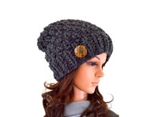Chunky Knit Slouchy Hat Beanie Toque with One Natural Coconut Shell Button // The Laurel // in Charcoal