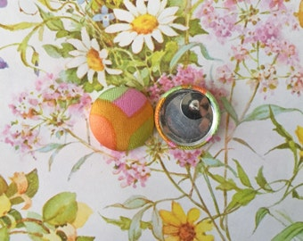 Fabric Covered Button Earrings / Wholesale Jewelry / Geometric Print / Handmade Earring / Studs / Gifts for Her / Hypoallergenic Post