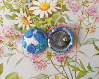 Wholesale Jewelry / Fabric Covered Button Earrings / Vintage Floral Print / Unique Gifts / Small Studs / Bulk Discount / Blue / Handmade USA