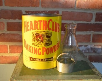 Vintage, Large/Industrial/Commercial Hearth Club Baking Powder Can