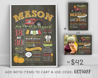 Fall Pumpkin birthday chalkboard - 1st birthday poster to match tractor pumpkin invitation (sold separately) - u print chalkboard sign
