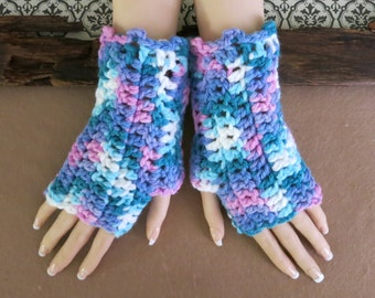 Crochet Fingerless Gloves, Wrist Warmers, Chunky Arm Warmers, Wool Mittens, School Student Gloves, Australia, Nchanted Gifts