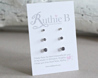 Alexandrite Stud Earring Set - 2mm 3mm 4mm Set of 3 Lab Created Alexandrite Studs - June Birthstone -  Gift for Her