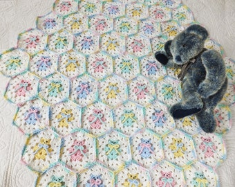 Crochet Teddy Bear Blanket - Hexagon Teddy Bear Baby Blanket/Afghan