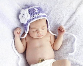 FOOTBALL BABY GIRL Grandmabilt Crocheted Mauve, Lavender, Lilac, Mauve, White Baby football Hat, Football Hat Flower, Baby Football Knit Hat