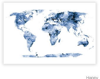 aquarell world map poster gro e weltkarte mit von happyplaceart. Black Bedroom Furniture Sets. Home Design Ideas