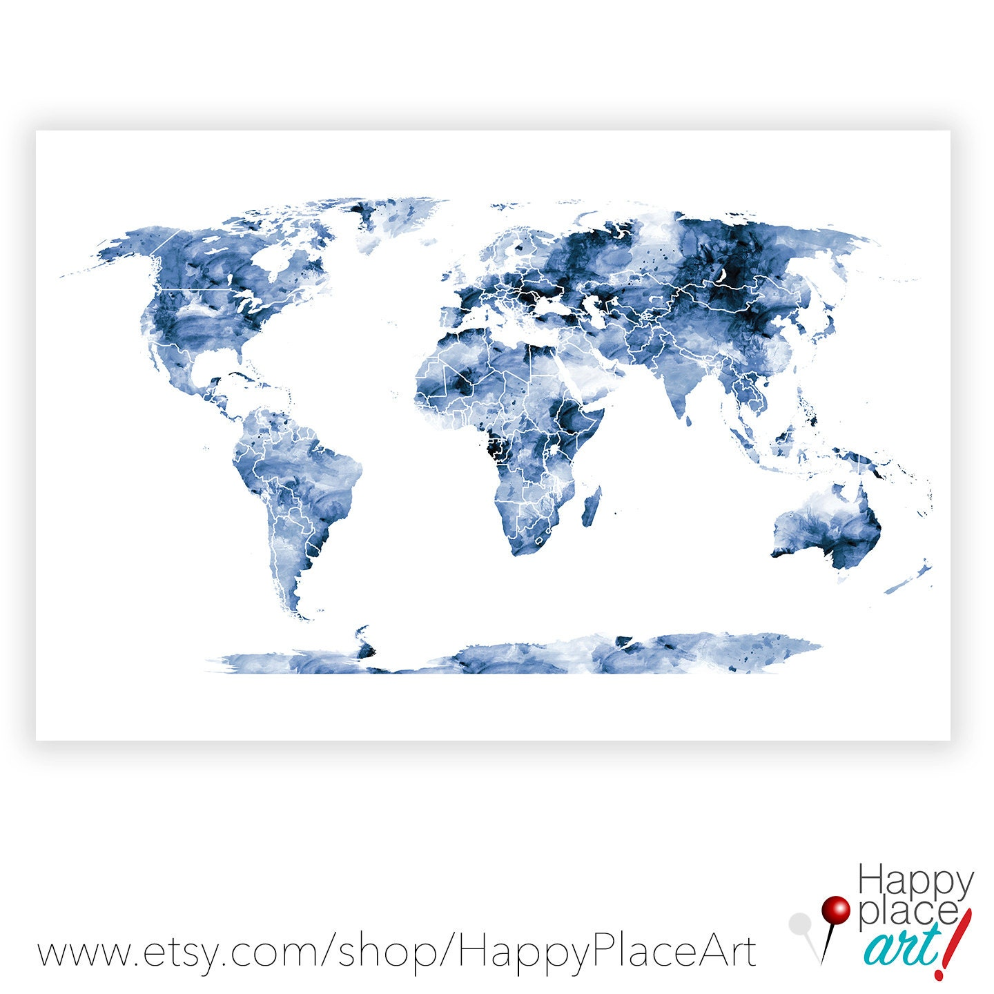 Large Blue World Map Wall Art Map Poster 16x20in map Boys