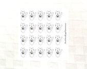 Coffee Addict Tiggero Doodle Stickers, Set of 20 Planner Stickers