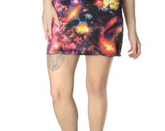 Mini Supernova Galaxy Print Skirt