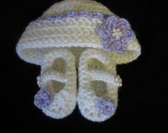 Newborn Booties And Hat